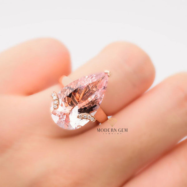 Two in One 18K Rose Gold Natural Morganite & Diamonds Ring & Pendant - Modern Gem Jewelry
