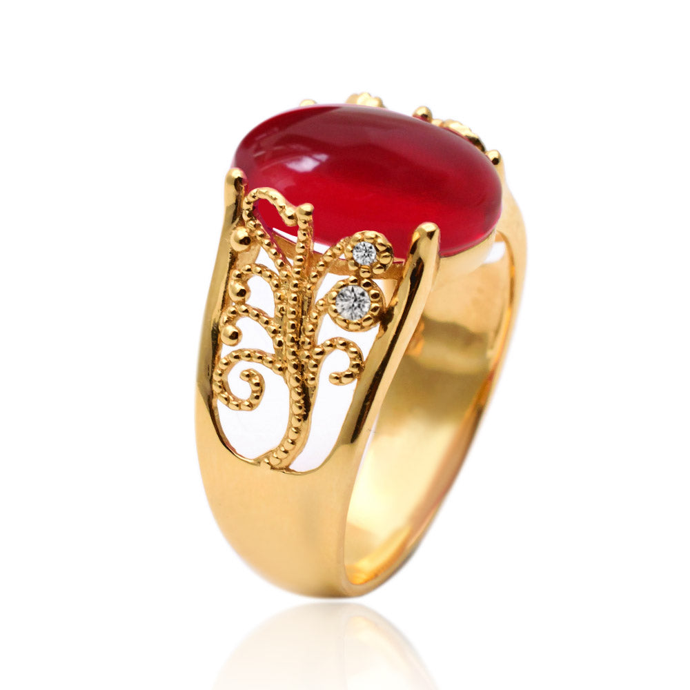 Cabochon Pigeon Blood Red Ruby Ring