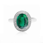 Classic Natural Emerald and Diamonds Double Halo Ring