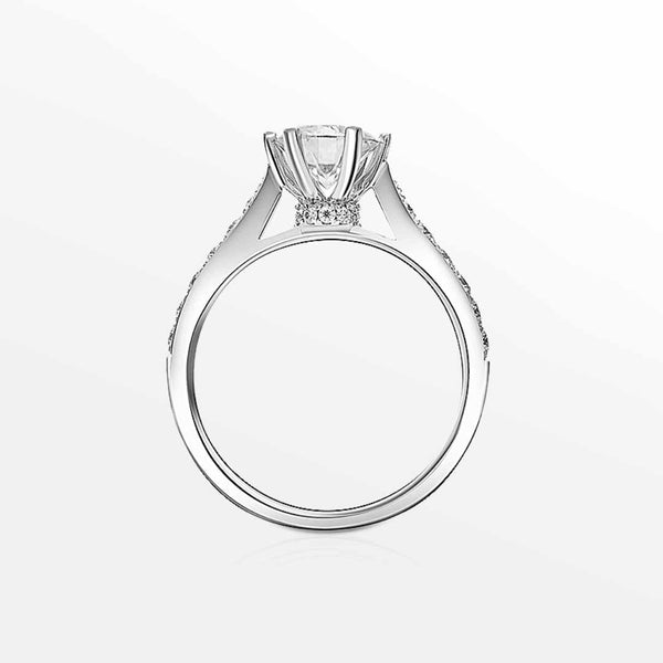 LYNN • Snow Flake Style Prongs Hidden Halo Moissanite Promise Ring | Amour Collection