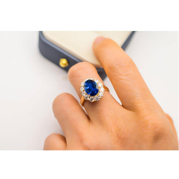 Vintage Halo Natural Royal Blue Sapphire Yellow Gold Engagement Ring - Modern Gem Jewelry