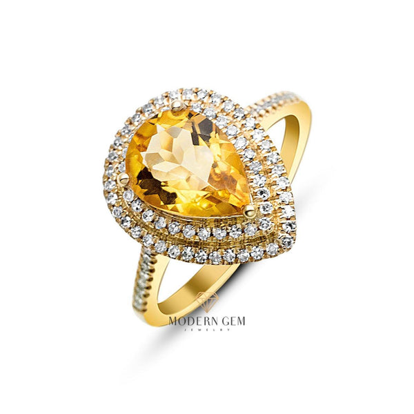 2 Carats Golden Natural Citrine &  Natural Diamonds Double Halo 18k Yellow Gold Ring - Modern Gem Jewelry