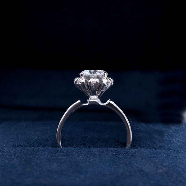 Flora • Solitaire Moissanite Unique Design Hidden Halo | Amour Collection