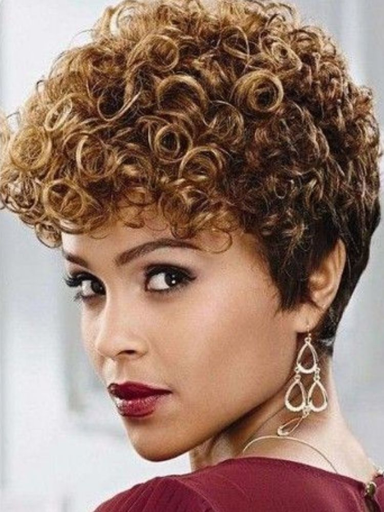 Perruque courte afro curly 100% remy hair - NICOLE