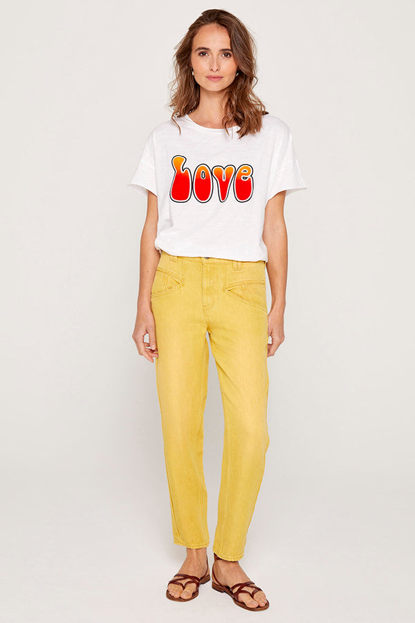 322 IZA JEANS RELAXED TAILLE HAUTE - YELLOW