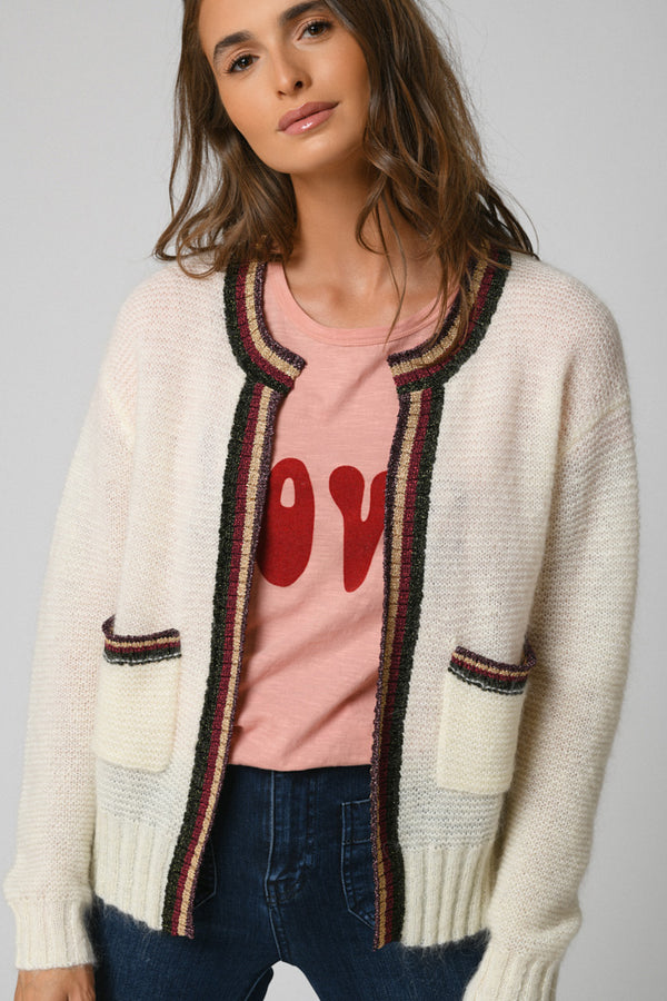 CARDIGAN RAYURE INCA - OFF WHITE