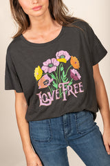 TEE SHIRT LOVE FREE - CARBONE