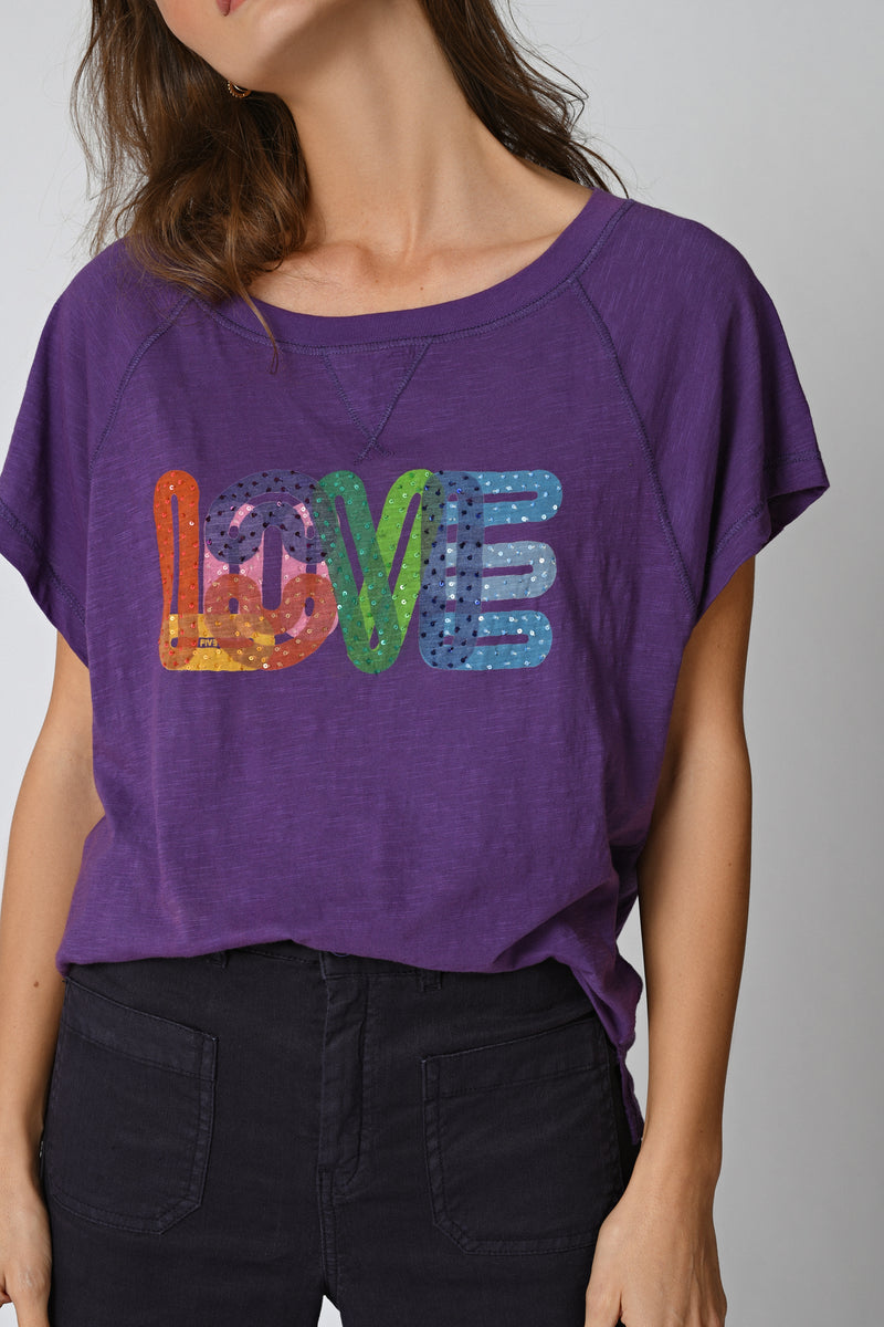 TEE SHIRT RETRO LOVE - VIOLET