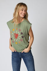 TEE SHIRT STAR - OIL GREEN