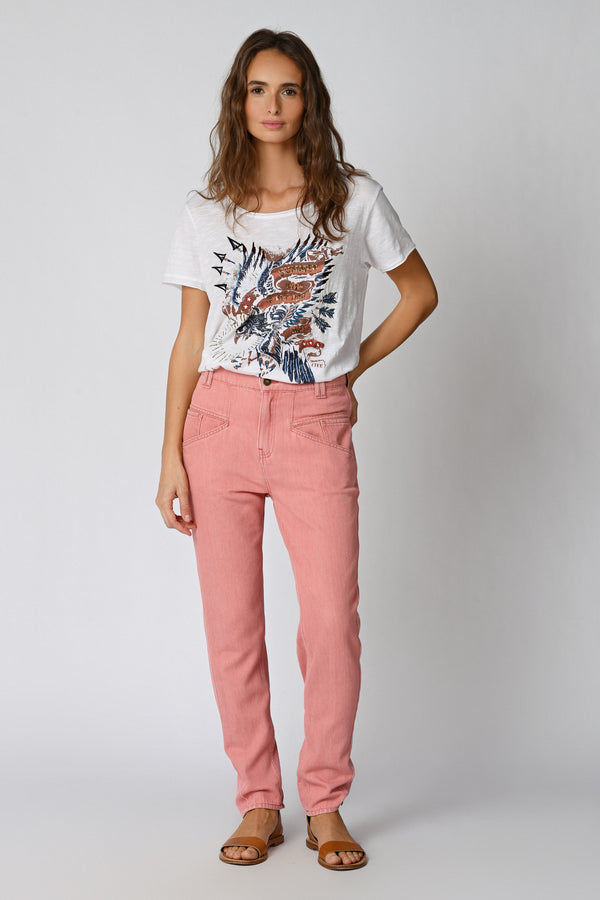 625 IZA JEANS RELAXED TAILLE HAUTE - PINK