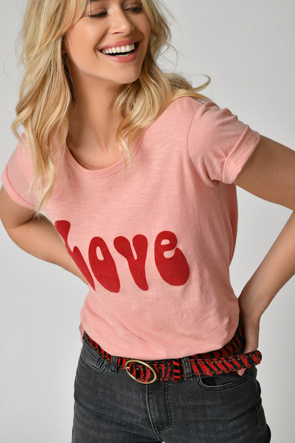 TEE SHIRT LOVE - MAUVEGLOW