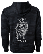 Load image into Gallery viewer, Lone Wolf Black Camo Hoodie