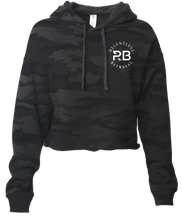 Load image into Gallery viewer, Trustless Chief Black Camo Crop Hoodie