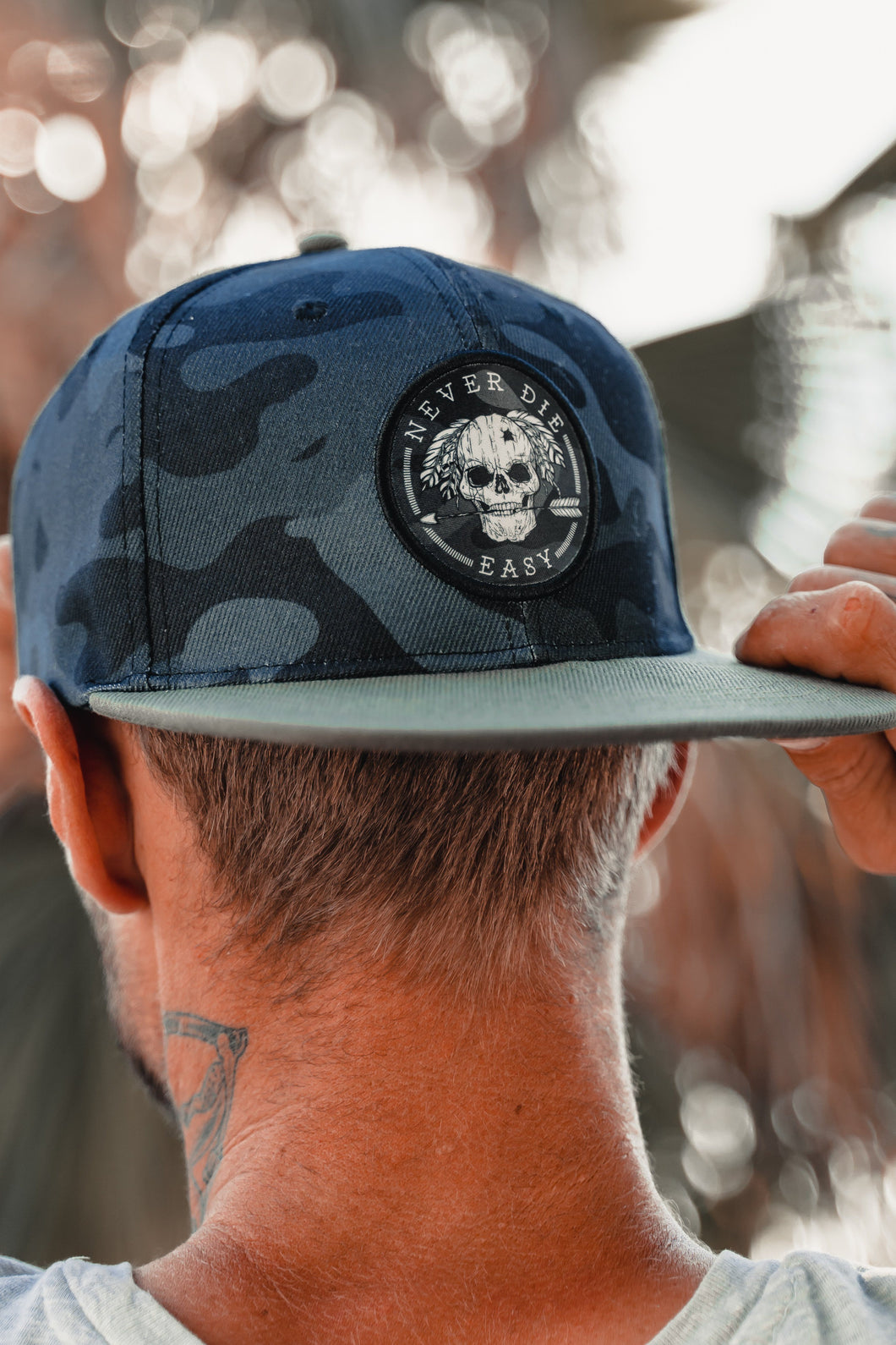 Never Die Easy Black Camo Snapback