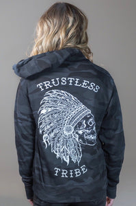 Trustless Chief Black Camo Zip-up Hoodie