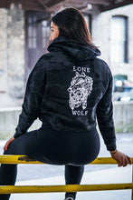 Load image into Gallery viewer, Lone Wolf Black Camo Crop Hoodie