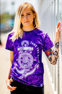 Take The Helm Purple Tie Dye T-Shirt