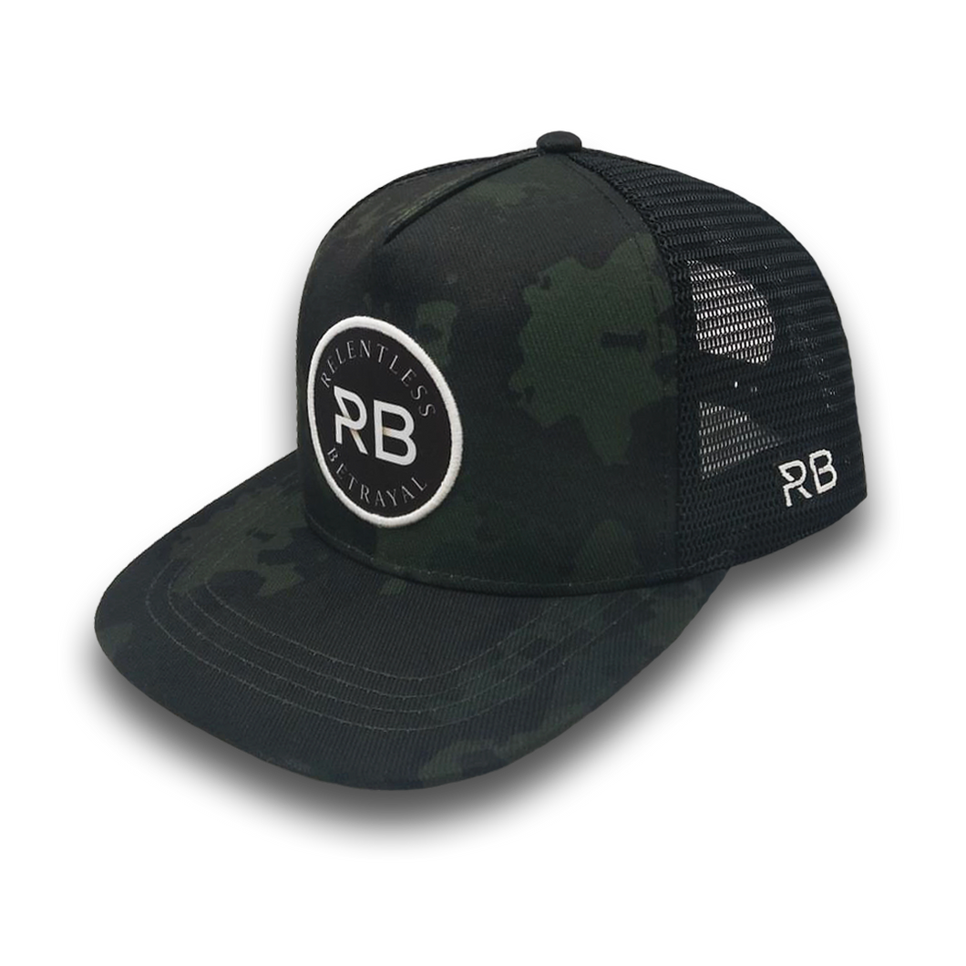 Relentless Betrayal Black Camo Trucker Snapback