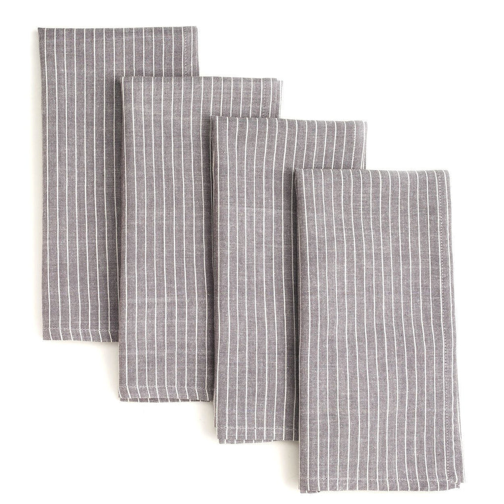 Grey Stripes 20 inch Cotton Napkin Set of 4