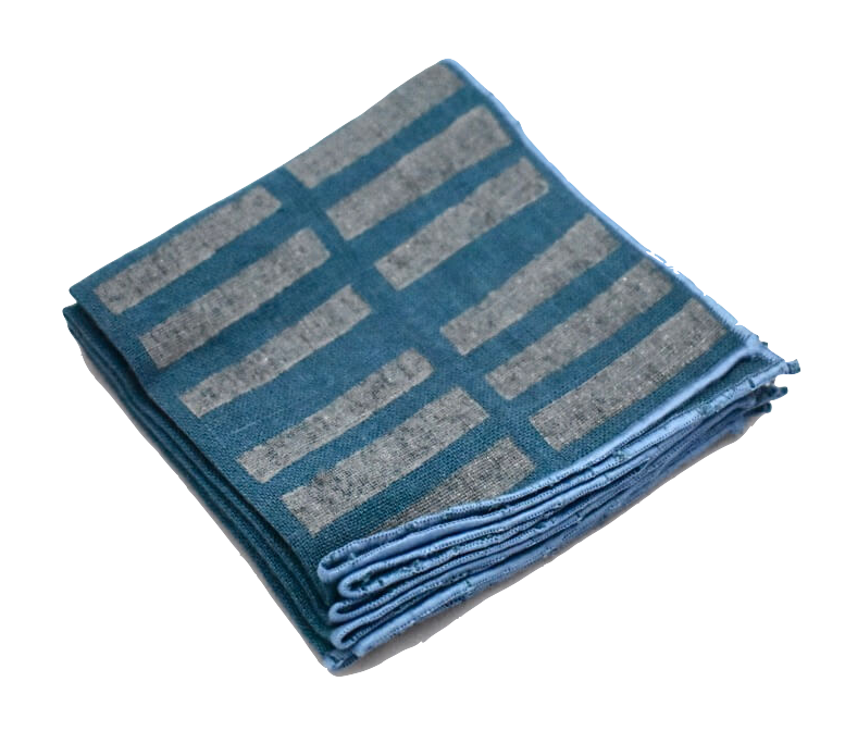 Blue Gray Block Print Linen Cocktail Napkins