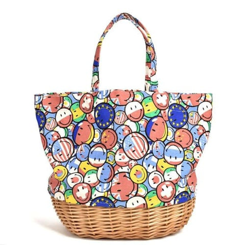 Sac Cabas en Osier Smiley - Petit