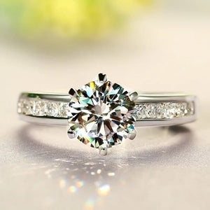 Exclusive 1ct Moissanite Diamond Engagement Ring Side Stones