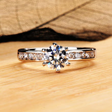 Load image into Gallery viewer, Exclusive 1ct Moissanite Diamond Engagement Ring Side Stones