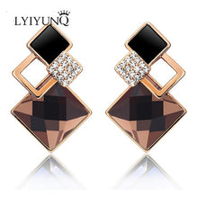 Load image into Gallery viewer, Vintage Long Square Crystal Earrings