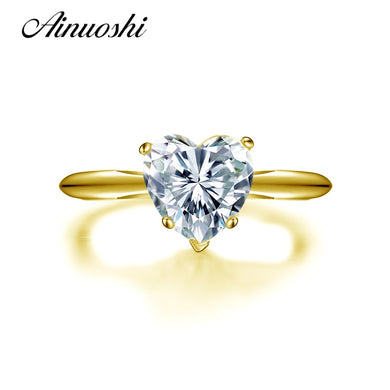 2018 10K Yellow Gold  2 Carat Heart Shape Solitaire Simulated Diamond Rings