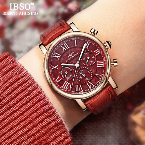 IBSO Vintage Red Leather Women Watches 2018 Luxury Brand