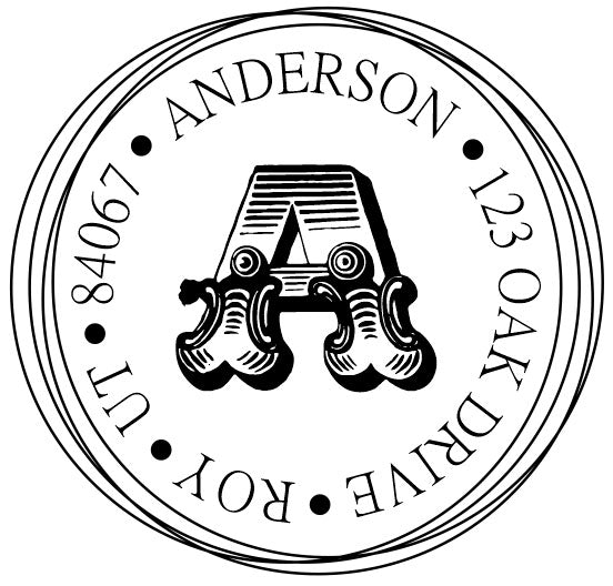 Bold Monogram Address Stamp
