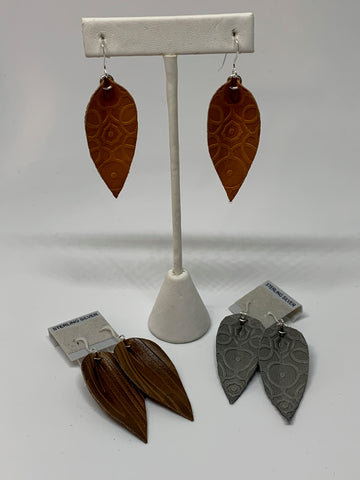 Leather Earrings - Embossed