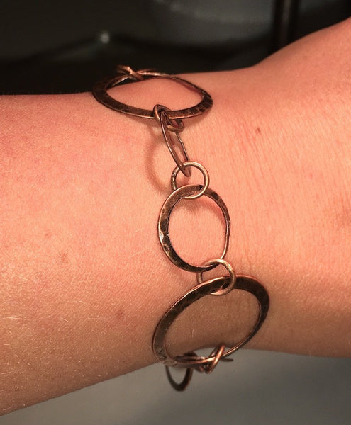 Hammered Hoop Bracelet Antique Copper