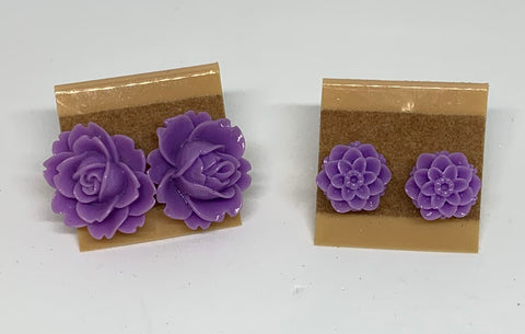 Flower Stud Earrings - Lavender