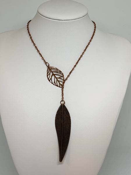 Leaf Loop Necklaces - Antique COPPER