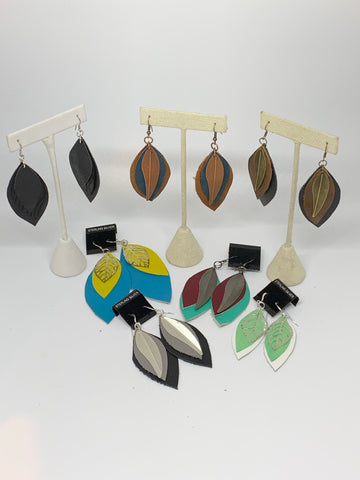 Leather Earrings - Layered Large