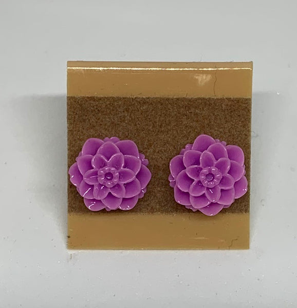 Flower Stud Earrings - Purple