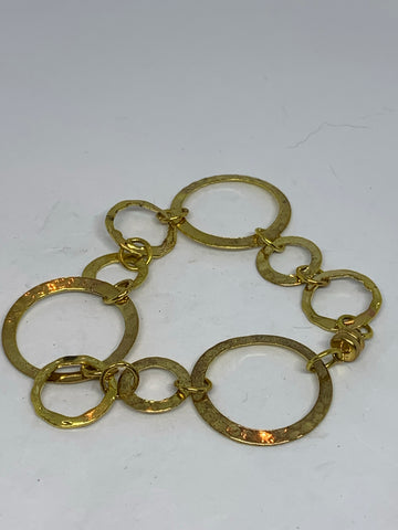 Hammered Hoop Bracelet Gold