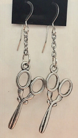Scissor Earrings- Silver