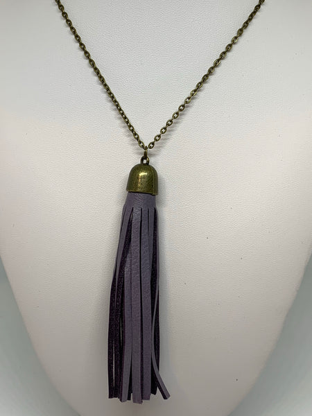 Leather Tassel Necklaces - BRONZE CHAIN