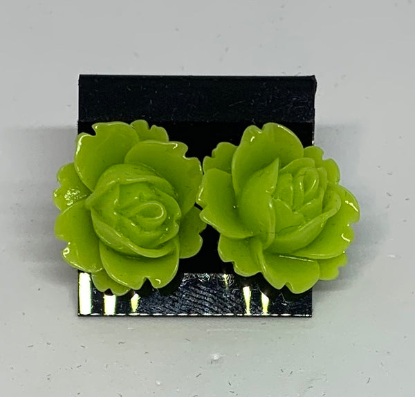 Flower Stud Earrings - Green