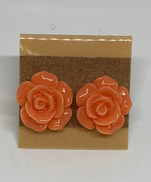 Flower Stud Earrings - Coral/Orange