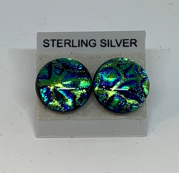 Large Stud earrings - Dichroic Glass/Sterling Silver