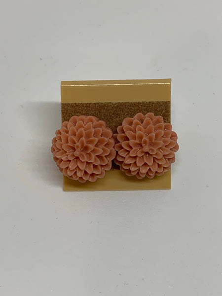 Flower Stud Earrings - Champagne/Peach