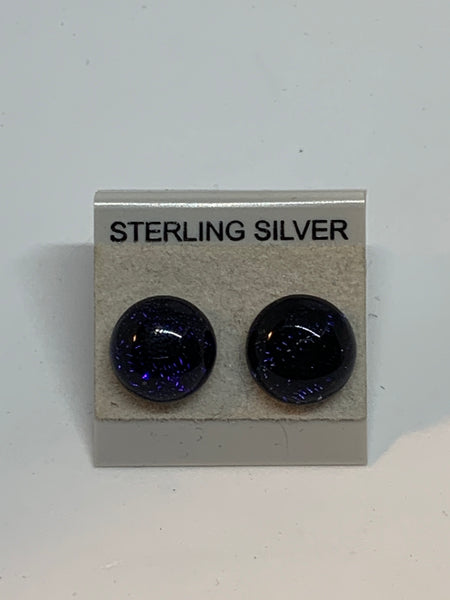 Small Stud earrings - Dichroic Glass/Sterling Silver