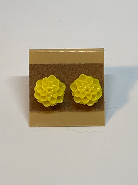 Flower Stud Earrings - Yellow