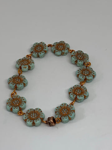 Glass Flower Bead Bracelets