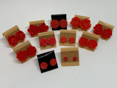 Flower Stud Earrings - Red