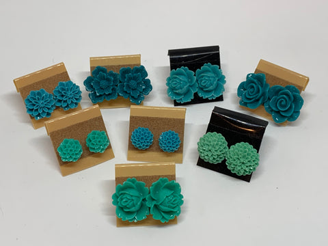Flower Stud Earrings - Jade