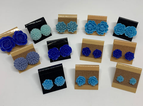 Flower Stud Earrings - Blues